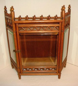 Victorian Oak Stick An Ball Wall Hanging Curio Cabinet With Beveled Glass C1880 photo