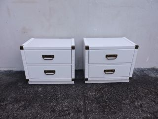 Mid - Century Hollywood Regency Nightstands / End Tables By Drexel 6255 photo