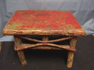 Primitive Handmade Americana Wood Stool Stand Red Paint Bark Bent Twigs 12x9x9 photo