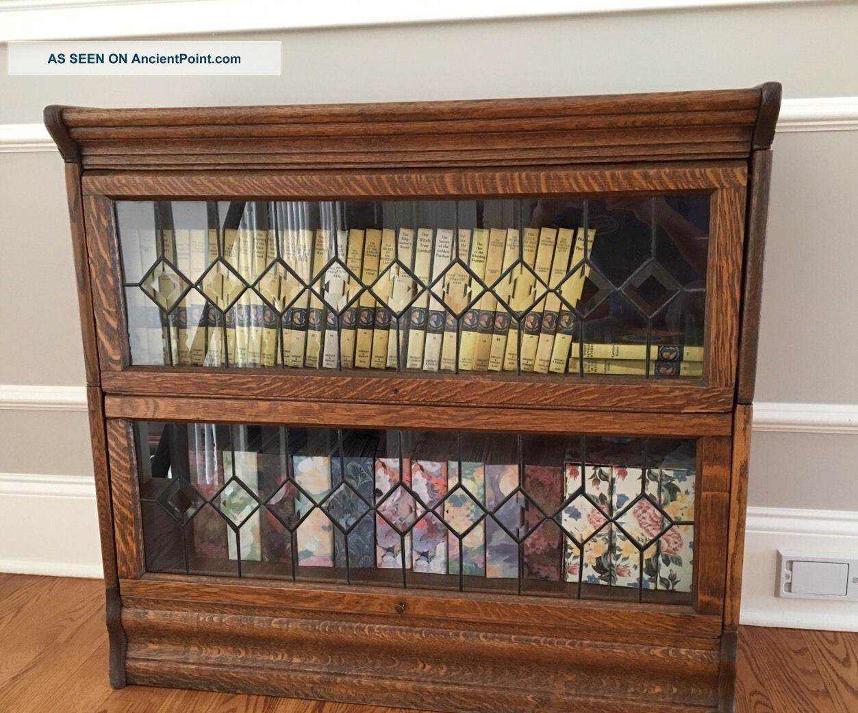 Antique Oak Barrister Bookcase With Leaded Glass 2 Stack