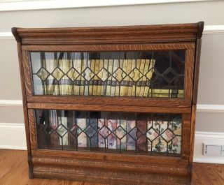 Antique Oak Barrister Bookcase With Leaded Glass - 2 Stack photo
