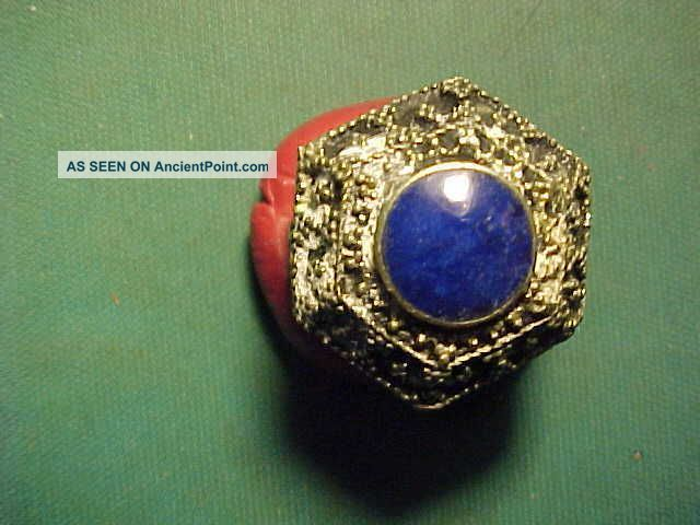 Near Eastern Hand Crafted Ring Lapis Lazuli Stone 1700 - 1900 Near Eastern photo