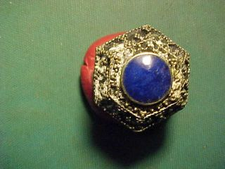 Near Eastern Hand Crafted Ring Lapis Lazuli Stone 1700 - 1900 photo