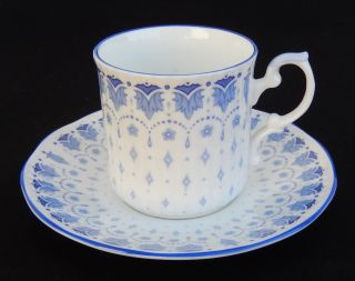 Langdale Elizabethan Demitasse Cup & Saucer W/blue Trim England Fine Bone China photo