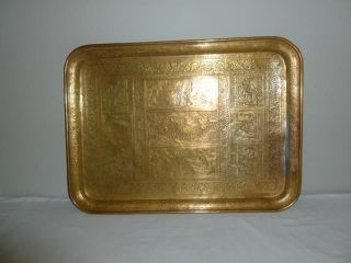 Incredible Islamic Antique Persian Qajar Large Brass Tray Hand Engraved 9 Scenes photo