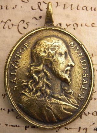 Jesus Savior & Mary Immaculate Salvator Mundi Salvation Medieval Bronze Medal photo