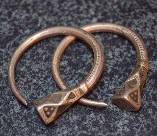 Antique Tuareg Tribal Ethnic Silver Metal Tsabit Tizabaten Earrings,  Mali Africa photo