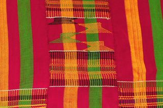 Kente Handwoven Cloth Asante Red Textile African Art Was $350.  00 photo