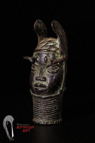 Discover African Art Benin Bronze Mini Head photo