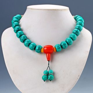 Chinese Old Turquoise Handwork Rosary Type Necklaces R1 photo