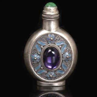 Chinese Handwork Silver Cloisonne Inlay Purple Zircon Snuff Bottles photo