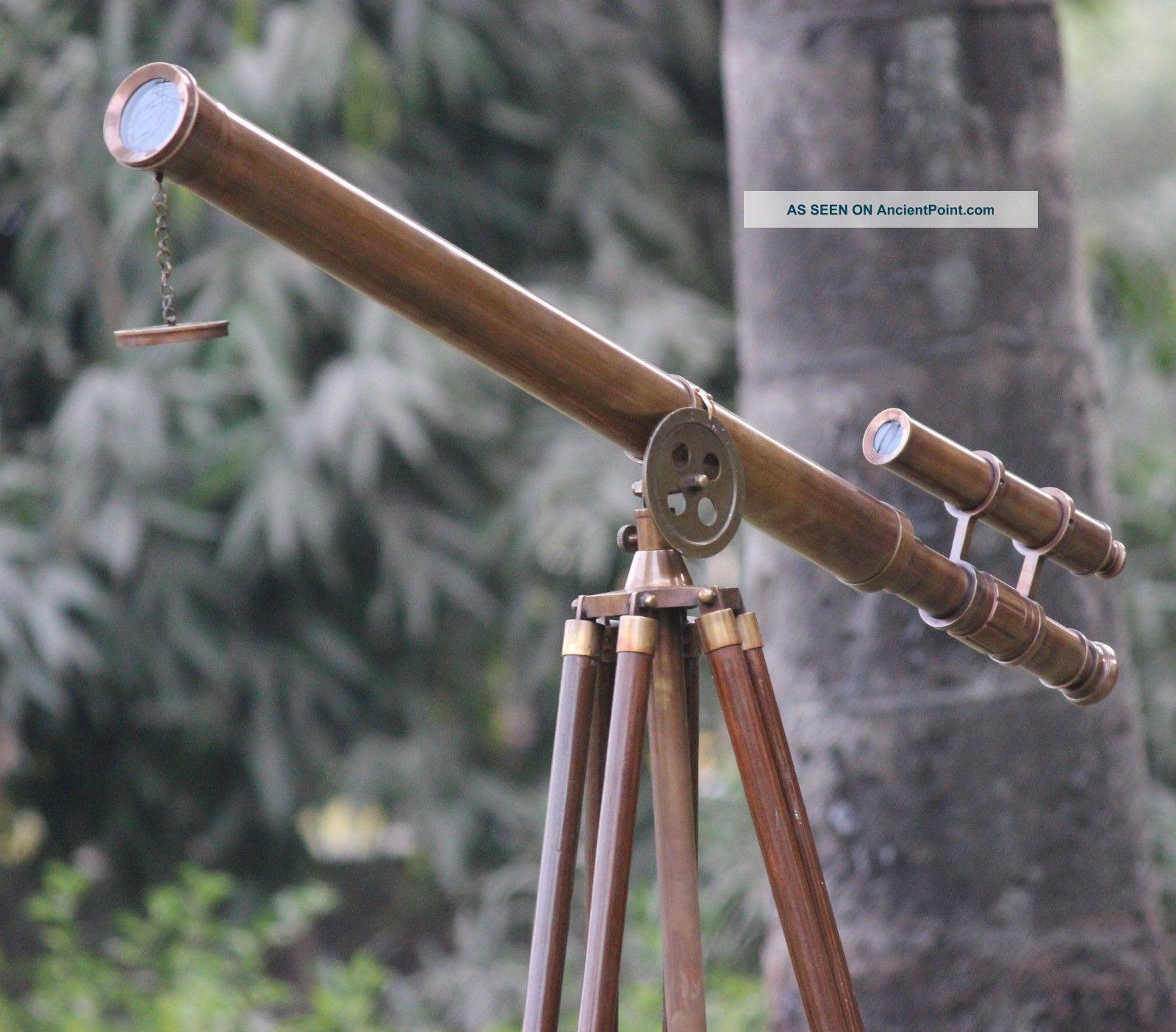 Antique Marine Vintage Brass Telescope U.  S.  Navy Wooden Tripod Nautical Maritime Telescopes photo