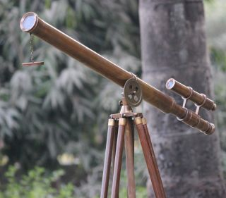 Antique Marine Vintage Brass Telescope U.  S.  Navy Wooden Tripod Nautical Maritime photo