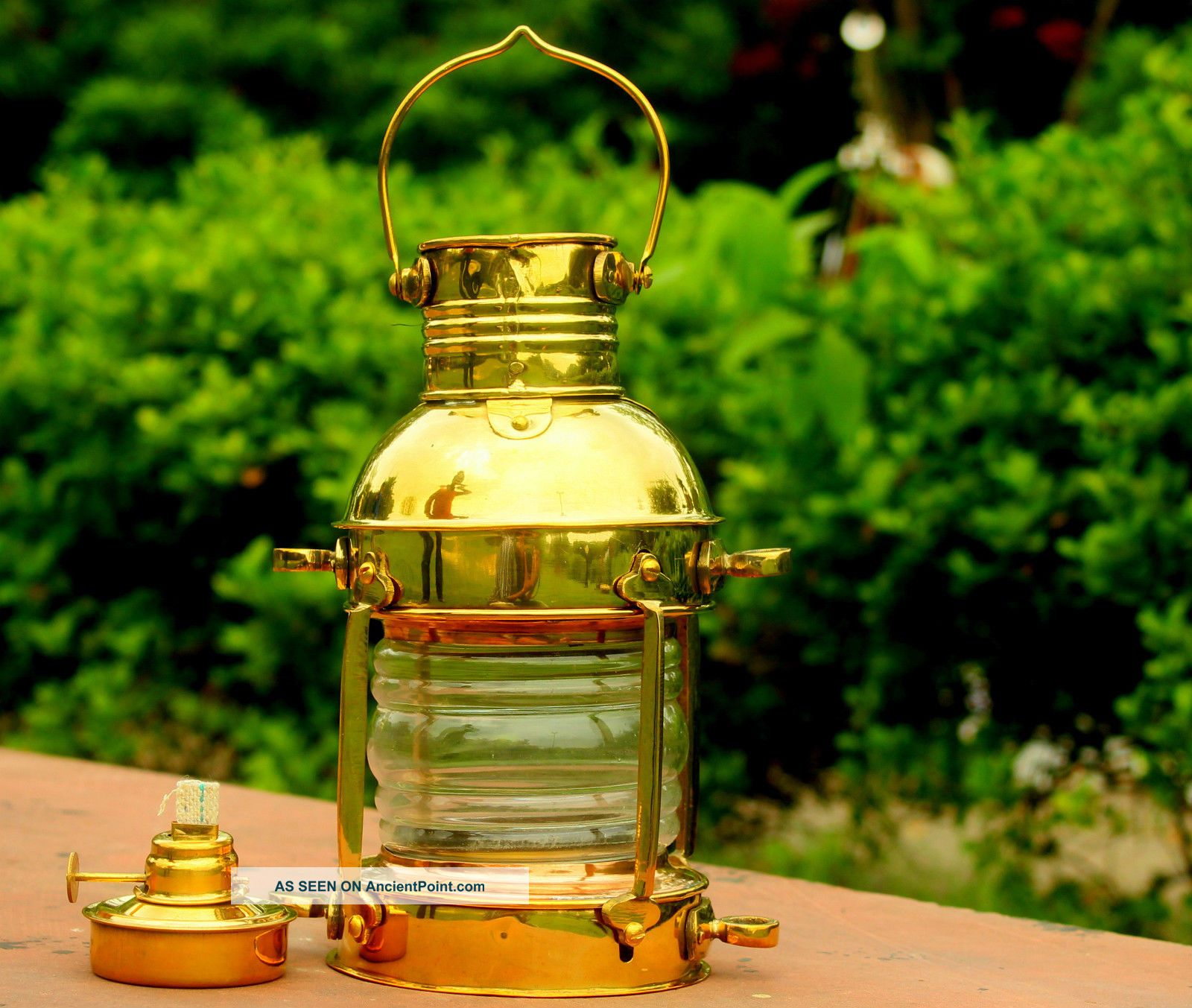 Marine Ship Oil Lamp Antique Shiny Brass Hanging Oil Lantern Home Decorative Other Maritime Antiques photo