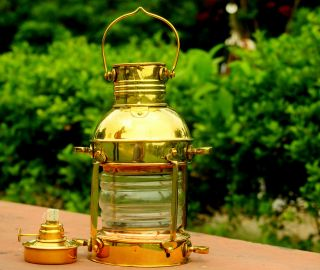 Marine Ship Oil Lamp Antique Shiny Brass Hanging Oil Lantern Home Decorative photo