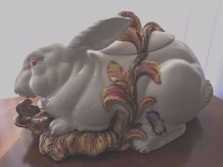 Italian Pottery Covered Rabbit Tureen photo