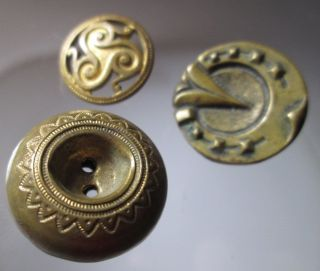 Vintage Trio Of Unique Mixed Brass Buttons. photo