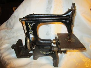 Antique M.  & M.  Co.  Sewing Machine Orig.  Cast Iron Base - Hymlot photo