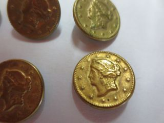 6 Antique Button Gold Liberty Dollar Civil War Era Double Eagle photo