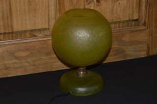 Vintage 1950s Glass Table Lamp With Seeded Glass Shade And Base In Bright Yellow photo