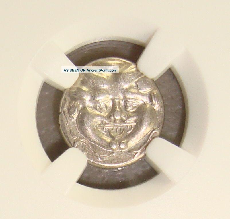 4th Cent Bc Mysia,  Parium Ancient Greek Gorgon Silver Hemidrachm Ngc Xf Edge Cut Greek photo