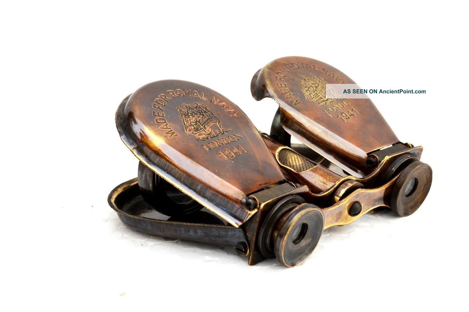 Vintage Spyglass Lens Royal Navy London 1941 Engraved Binocular Foldable,  Brass Telescopes photo