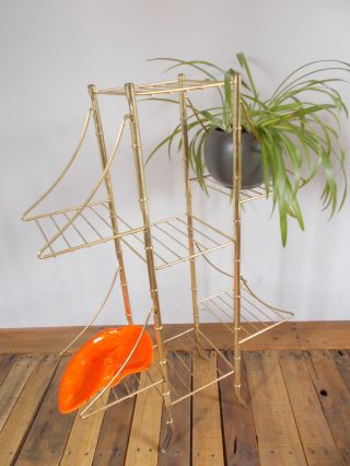 Unique Vtg Metal Plant Stand 7 Shelves Mid Century Brass Shelf Pagoda Style photo