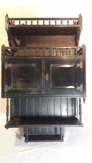 Antique Victorian Ebonized Eastlake Wood Hanging Shelf Lock Box Spinles photo