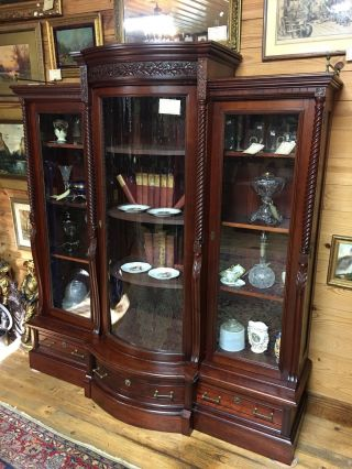 Carved Victorian Triple Door Bowed Glass Bookcase Near Cherry photo