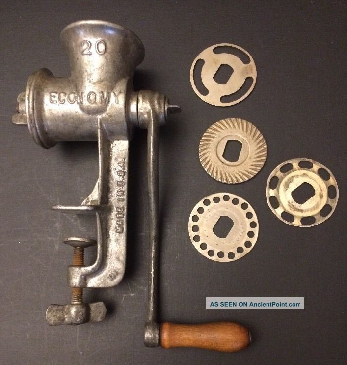 Vintage/antique Economy 20 Tabletop Meat Grinder/chopper Hand Crank 4attachments Meat Grinders photo