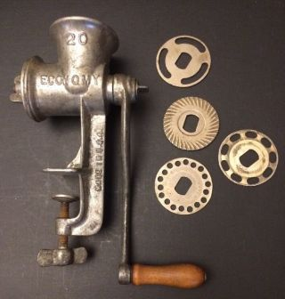 Vintage/antique Economy 20 Tabletop Meat Grinder/chopper Hand Crank 4attachments photo