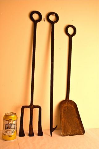 Best Vintage Iron Fireplace Tools Artisan Made Hand - Forged Samuel Yellen - Era photo