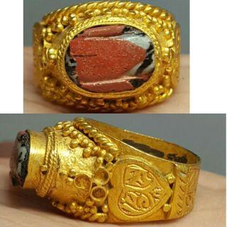 Roman Agate Intaglio Stone 24k Gold Gilded Silver Ring photo