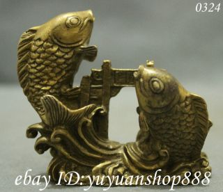 Chinese Exquisite Pure Brass Lucky Carp Fish Jump Dragon Door Art Statue photo