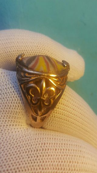 Roman Old Mosaic Glass Wonderful Solid Gold Ring 9.  97grams photo