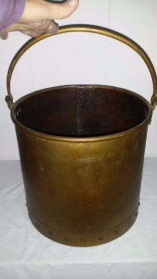 Antique Vintage Brass Riveted Bucket Coal Hod Wood Holder 11 1/4