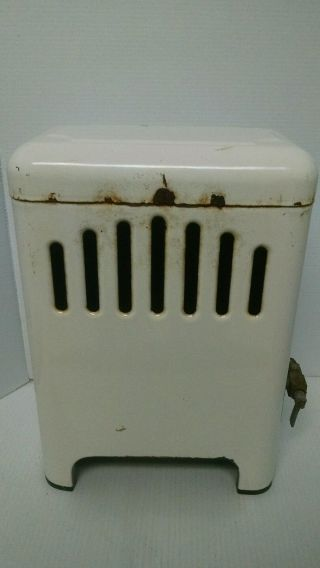 Vintage Folsom White Porcelain Gas Bathroom Space Heater Antique Enamel photo