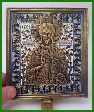 Russia Orthodox Bronze Icon The Savior Almighty.  Enameled. photo