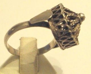 Early 20th Century Silver Ring With Filigree // 690 photo