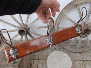 Antique Men Face Wood / Iron Wall Coat Hook Hanger Rack Restored photo