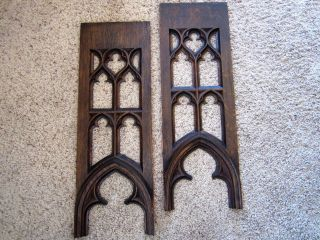Pair Gothic Tiger Oak Church Fretwork Victorian Beveled Arch Panels Door Window photo