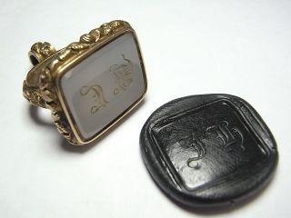 Large Agate British Pinchback Gold 18th 19th Century Desk Seal Matrix Jh (a937) photo