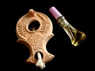 Ancient Jewish Roman Darom Oil Lamp Reproduction Wick,  Olive Oil,  Instruction photo