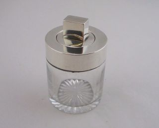 Stylish Victorian Silver & Glass Salts Bottle - Birmingham 1890 - Brockwell & Son photo