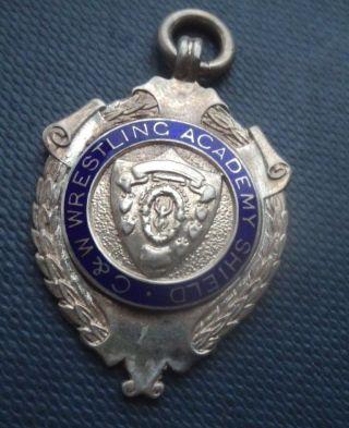 Sterling Silver & Enamel Cumberland Wrestling Fob Medal - Kirkbride Cumbria photo