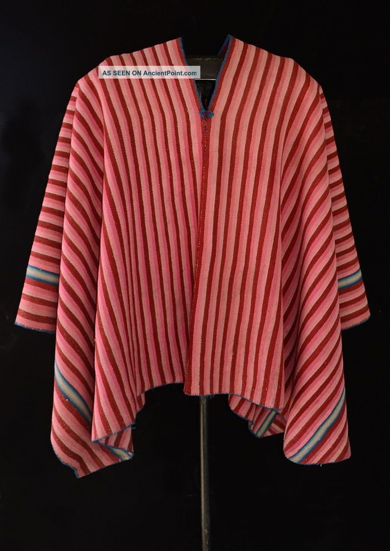 Gradational Stripes Aymara Indian Vintage Sheep Wool Poncho Tm12432 Native American photo
