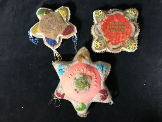 3 Iroquois Bead Work Pin Cushions Native American Aafa photo