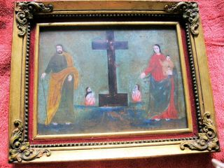 1800 ' S Retablo Joseph And Mary On Each Side Of The Cross &2 Sowls photo
