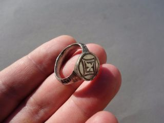 Ancient Silver Late Roman Or Byzantine,  Nicely Engraved Ring photo