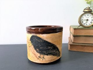 Farmhouse Brown Stoneware Crock With Crow Rustic Style Decor Planter photo